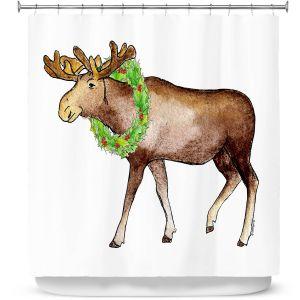 Premium Shower Curtains | Marley Ungaro - Christmas Wreath Moose