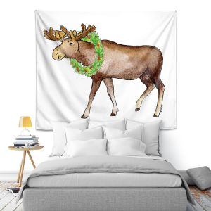 Artistic Wall Tapestry | Marley Ungaro - Christmas Wreath Moose | Christmas Wild Animals