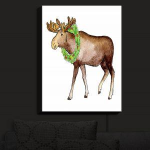 Nightlight Sconce Canvas Light | Marley Ungaro - Christmas Wreath Moose | Christmas Wild Animals