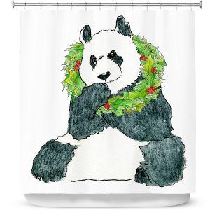 Premium Shower Curtains | Marley Ungaro - Christmas Wreath Panda
