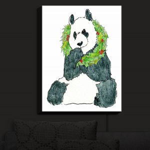 Nightlight Sconce Canvas Light | Marley Ungaro - Christmas Wreath Panda | Christmas Wild Animals