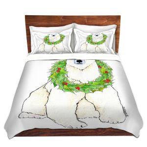 Artistic Duvet Covers and Shams Bedding | Marley Ungaro - Christmas Wreath Polar Bear | Christmas Wild Animals