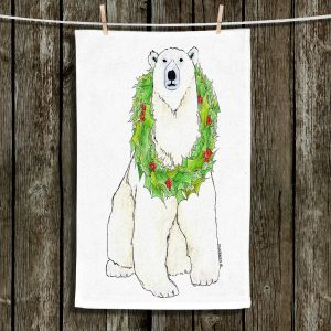 Unique Bathroom Towels   Marley Ungaro - Christmas Wreath Polar Bear