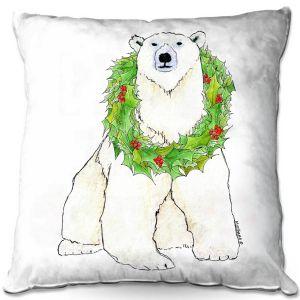 Decorative Outdoor Patio Pillow Cushion | Marley Ungaro - Christmas Wreath Polar Bear | Christmas Wild Animals