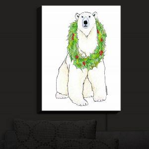 Nightlight Sconce Canvas Light | Marley Ungaro - Christmas Wreath Polar Bear | Christmas Wild Animals
