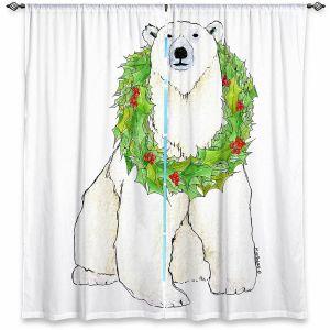Decorative Window Treatments | Marley Ungaro - Christmas Wreath Polar Bear | Christmas Wild Animals