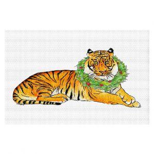 Decorative Floor Covering Mats   Marley Ungaro - Christmas Wreath Tiger   Christmas Wild Animals