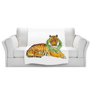 Artistic Sherpa Pile Blankets   Marley Ungaro - Christmas Wreath Tiger   Christmas Wild Animals