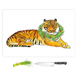 Artistic Kitchen Bar Cutting Boards | Marley Ungaro - Christmas Wreath Tiger | Christmas Wild Animals