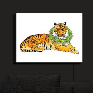 Nightlight Sconce Canvas Light | Marley Ungaro - Christmas Wreath Tiger | Christmas Wild Animals