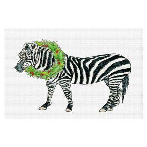 Decorative Floor Covering Mats | Marley Ungaro - Christmas Wreath Zebra | Christmas Wild Animals