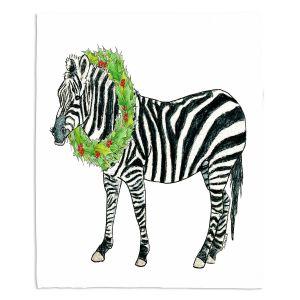 Decorative Fleece Throw Blankets | Marley Ungaro - Christmas Wreath Zebra | Christmas Wild Animals