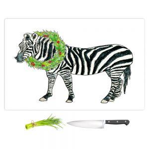Artistic Kitchen Bar Cutting Boards | Marley Ungaro - Christmas Wreath Zebra | Christmas Wild Animals