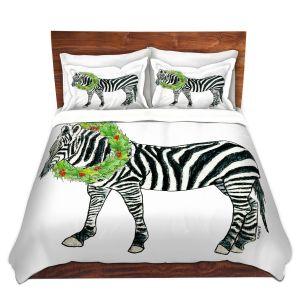 Artistic Duvet Covers and Shams Bedding | Marley Ungaro - Christmas Wreath Zebra | Christmas Wild Animals