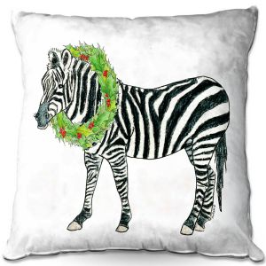 Throw Pillows Decorative Artistic | Marley Ungaro - Christmas Wreath Zebra | Christmas Wild Animals