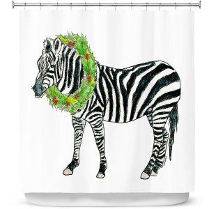 Premium Shower Curtains | Marley Ungaro - Christmas Wreath Zebra