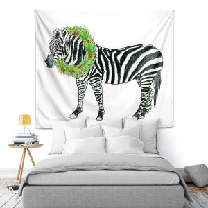 Artistic Wall Tapestry | Marley Ungaro - Christmas Wreath Zebra | Christmas Wild Animals