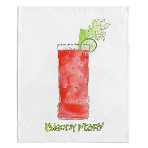 Decorative Fleece Throw Blankets | Marley Ungaro - Cocktails Bloody Mary | Water color still life class drink alcohol