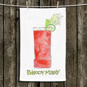 Unique Hanging Tea Towels | Marley Ungaro - Cocktails Bloody Mary | Water color still life class drink alcohol
