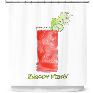 Premium Shower Curtains | Marley Ungaro - Cocktails Bloody Mary | Water color still life class drink alcohol