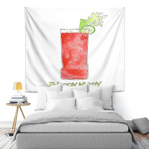 Artistic Wall Tapestry | Marley Ungaro - Cocktails Bloody Mary | Water color still life class drink alcohol