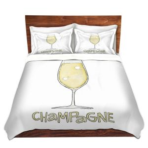 Artistic Duvet Covers and Shams Bedding | Marley Ungaro - Cocktails Champagne | Wine Glass