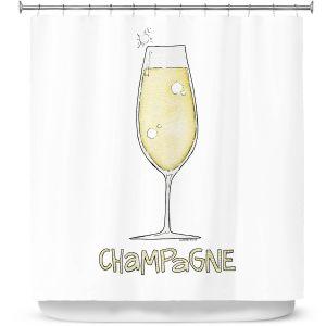 Premium Shower Curtains | Marley Ungaro - Cocktails Champagne | Wine Glass