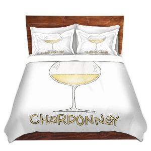 Artistic Duvet Covers and Shams Bedding | Marley Ungaro - Cocktails Chardonnay | Wine Glass