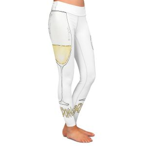 Casual Comfortable Leggings | Marley Ungaro - Cocktails Chardonnay | Wine Glass