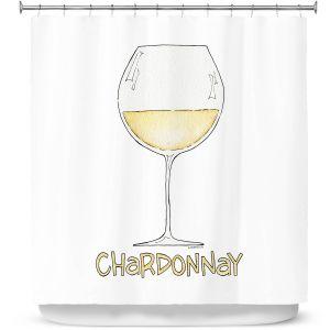 Premium Shower Curtains | Marley Ungaro - Cocktails Chardonnay | Wine Glass