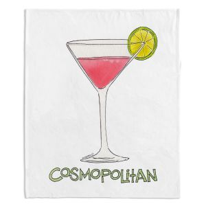 Artistic Sherpa Pile Blankets | Marley Ungaro - Cocktails Cosmo | Water color still life class drink alcohol