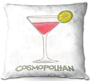 Throw Pillows Decorative Artistic | Marley Ungaro - Cocktails Cosmo | Water color still life class drink alcohol