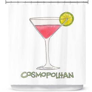 Premium Shower Curtains | Marley Ungaro - Cocktails Cosmo | Water color still life class drink alcohol
