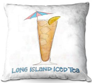 Throw Pillows Decorative Artistic | Marley Ungaro - Cocktails Long Island Ice Tea | Water color still life class drink alcohol