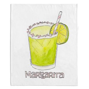 Decorative Fleece Throw Blankets | Marley Ungaro - Cocktails Margarita | Water color still life class drink alcohol