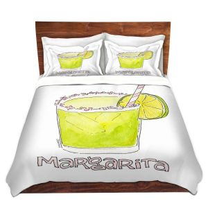 Artistic Duvet Covers and Shams Bedding | Marley Ungaro - Cocktails Margarita | Water color still life class drink alcohol