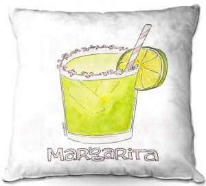 Throw Pillows Decorative Artistic | Marley Ungaro - Cocktails Margarita | Water color still life class drink alcohol