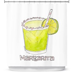 Premium Shower Curtains | Marley Ungaro - Cocktails Margarita | Water color still life class drink alcohol