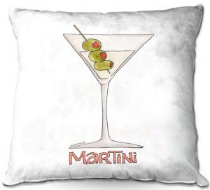 Throw Pillows Decorative Artistic | Marley Ungaro - Cocktails Martini | Water color still life class drink alcohol