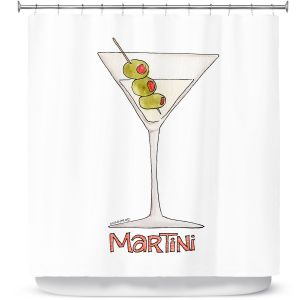 Premium Shower Curtains | Marley Ungaro - Cocktails Martini | Water color still life class drink alcohol
