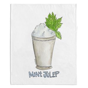 Decorative Fleece Throw Blankets | Marley Ungaro - Cocktails Mint Julep | Water color still life class drink alcohol