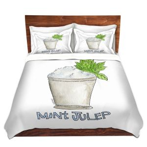 Artistic Duvet Covers and Shams Bedding | Marley Ungaro - Cocktails Mint Julep | Water color still life class drink alcohol