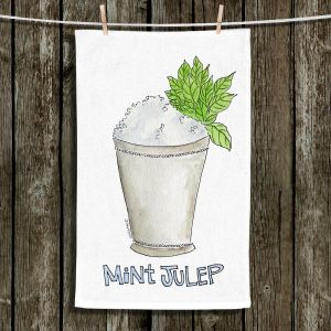 Unique Hanging Tea Towels | Marley Ungaro - Cocktails Mint Julep | Water color still life class drink alcohol
