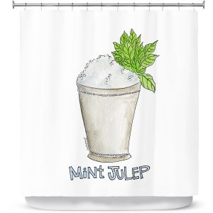 Premium Shower Curtains | Marley Ungaro - Cocktails Mint Julep | Water color still life class drink alcohol