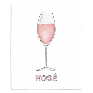 Decorative Fleece Throw Blankets | Marley Ungaro - Cocktails Rose Wine | Wine Glass