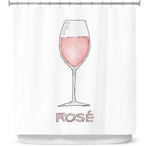 Premium Shower Curtains | Marley Ungaro - Cocktails Rose Wine | Wine Glass
