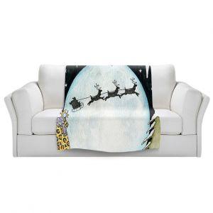 Artistic Sherpa Pile Blankets   Marley Ungaro - Cold Moon 2   Holidays christmas xmas santa claus reindeer sleigh