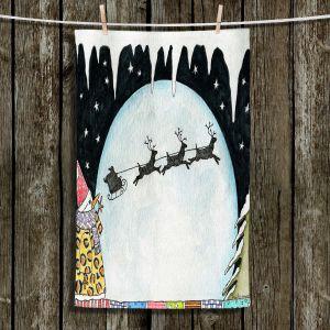 Unique Hanging Tea Towels | Marley Ungaro - Cold Moon 2 | Holidays christmas xmas santa claus reindeer sleigh