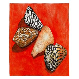 Decorative Fleece Throw Blankets | Marley Ungaro - Cone Shells | Ocean seashell still life nature