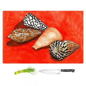 Artistic Kitchen Bar Cutting Boards | Marley Ungaro - Cone Shells | Ocean seashell still life nature